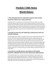 Module 5 DBA Notes rtf - Module 5 DBA Notes World History 1