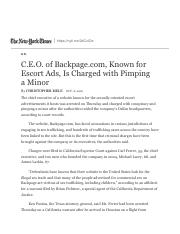 C.E.O. of Backpage.com Known for Escort Ads Is Charged with Pimping a Minor.The New York Times.pdf