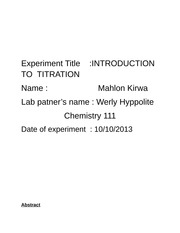Introduction to Titration Experiment