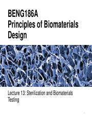 BENG186A Lecture 13 Sterilization and Biomaterials Testing.pdf