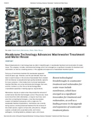 Membrane Technology Advances Wastewater Treatment and Water Reuse