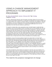 USING A CHANGE MANAGEMENT APPROACH TO IMPLEMENT IT PROGRAMS