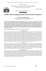 Mobile Cloud Computing Issues from a Security Perspective