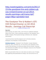 The Goodyear Tire & Rubber's (GT) CEO Richard Kramer on Q3 2014 Results - Earnings Call Transcript