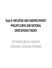 8. Inflation and Unemployment Phillip's Curve and Rational Expectation Theory.ppt