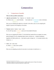 SPAN 1101 Comparatives Notes