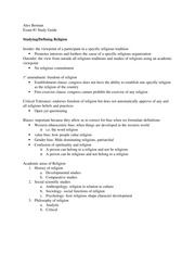 Academic Religion Study Guide