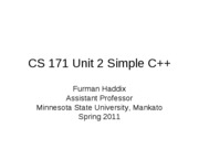 CS 171 Unit 2 Simple C++