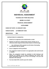 Financial Managment COVER-ASSIGNMENT