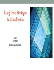 Team Assignment Long Term Strategies and Globalization