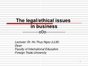 1-The legal-ethical issues in business