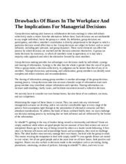 drawbacks ofBiases in the workplace and the implications for managerial decisions
