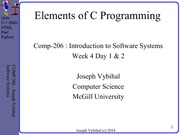 COMP 206 Lecture Week 4 Day 1 + 2- Elements of C