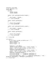 Body Mass C++ - #incluse <iostream> using namespace std