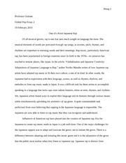 Global Pop Japanese rap essay