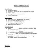 Biology 1A study guide