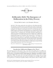 deliberative drift the emergence of deliberation in the policy process