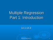 Intro to Multiple Regression