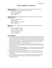 Progress Exam Study Guide Spring 2013