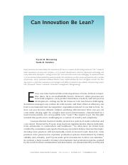 Can Innovation Be Lean?