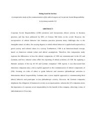 A comparative study of the communication of the ethical aspects of Corporate Social Responsibility i