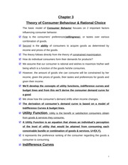 Chapter 3 Notes - Theory of Consumer Behavior & Rational Choice