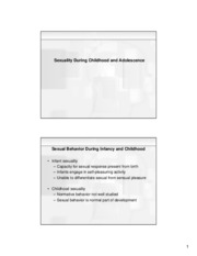 Lecture 6 - Sexuality During Childhood and Adolescence