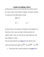 Limits At Infinity Recitation/Lab Notes