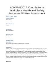 Unit 2 ACMWHS301A Contribute to Workplace Health and Safety Processes Written Assessment.docx