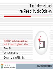 CCCH9017 Week 9 The Internet and the Rise of Public Opinion Outline