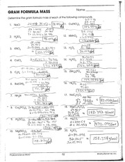 Printables Physical Science If8767 Worksheet Answers science adirondack high school course hero 1 pages gram formula mass key