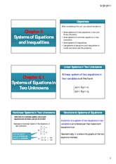 Chapter 5.1 & 5.2 Systems of Equations in Two Variables & Matrices and Determinants