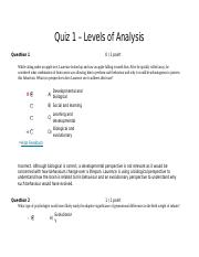Quiz 1 Compilation - Levels of Analysis