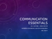 Communication Essentials Chapter 3 Lecture