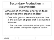 Secondary Production in Ecosystems