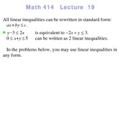 Lecture 19 on Linear Programming