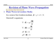 Revision of Plane Wave Propagation