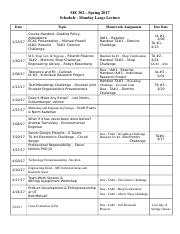 Large Lecture Daily Schedule-Spring 2017-ME302