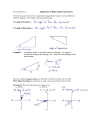 8.2 Applications of Right Angled Trigonometry