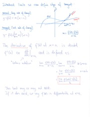 MATH 180 Slope of Tangent Notes