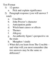 Acts Three and Four Review Topics