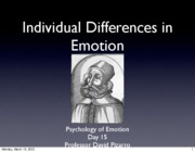 Emotion Lecture 12 2010 Individual Differences