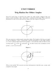 Unit Three -- Trig Ratios for Other Angles