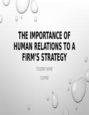 The importance of human relations to a firm's.ppt