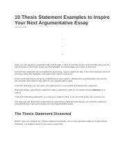 thesis statement examples to inspire your next argumentative   thesis statement examples to inspire your next argumentative essay   thesis  statement examples to inspire your next argumentative essay  have