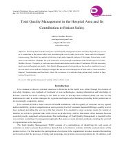 Total Quality Management in the Hospital Area and Its