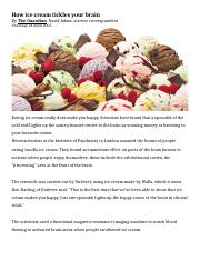 Article - Addiction - (Sweet & Fat) Ice Cream Tickles Brain