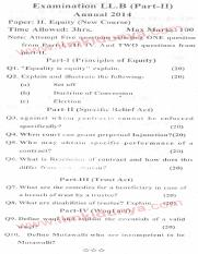 Past Papers 2014 LLB Part 2 Equity Paper 2