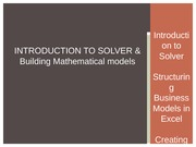 Intro to Solver and Building Mathematical Models