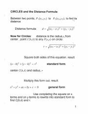 Circles and the distance formula pdf